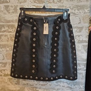 Maje Jupe Cuir Leather Skirt